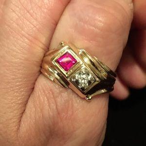 b026c88374e4 Other - MEN S VINTAGE 14K DIAMOND RUBY RING